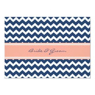 Invitations Chevron bleu de corail de mariage Carton D'invitation 12,7 Cm X 17,78 Cm