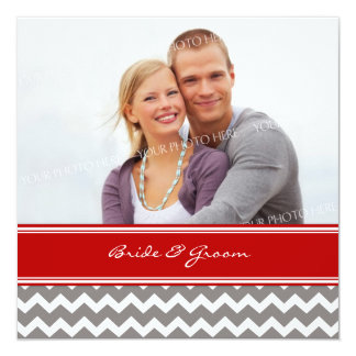 Invitations Chevron gris rouge de mariage de photo