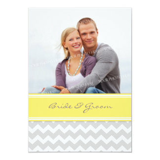 Invitations Chevron jaune gris de mariage de photo
