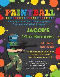 Invitations Faire Part Cartes Anniversaire Paintball Zazzle Fr