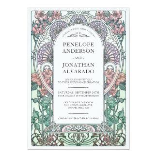 Invitations colorées de mariage de Nouveau d'art