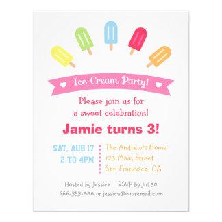 Invitations colorées de partie d été de Popsicle