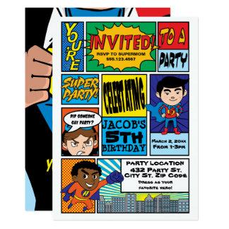 Invitations comiques d'anniversaire de super héros