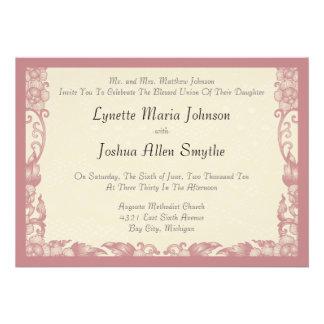 Invitations crèmes enes ivoire roses de mariage de