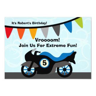 Invitations customisées d'anniversaire de moto de