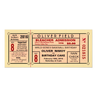 Invitations d'anniversaire de base-ball de billet