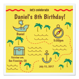 Invitations d'anniversaire de carte de trésor