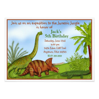 Invitations d'anniversaire de dinosaure