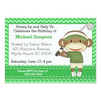 Invitations d'anniversaire de golf de singe de