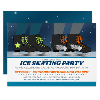 Invitations d'anniversaire de partie de patinage