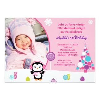 Invitations d'anniversaire de pingouin de sucrerie