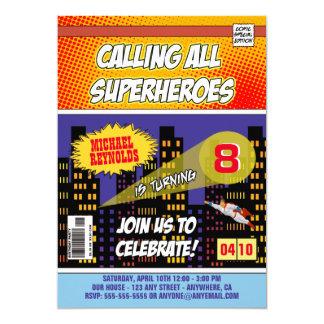 Invitations d'anniversaire de super héros de bande carton d'invitation  12,7 cm x 17,78 cm