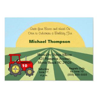 Invitations d'anniversaire de tracteur