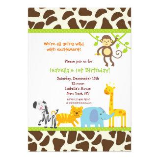 Invitations d'anniversaire de zoo de jungle de saf