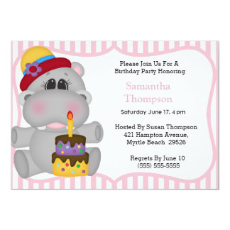 Invitations d'anniversaire d'hippopotame