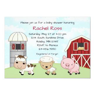 Invitations de baby shower de ferme de basse-cour