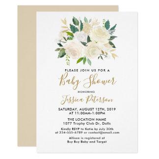 Invitations de baby shower de fleurs blanches