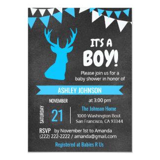 Invitations de baby shower de GARÇON bleu de cerfs