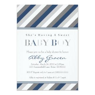 Invitations de baby shower de garçon, marine, gris
