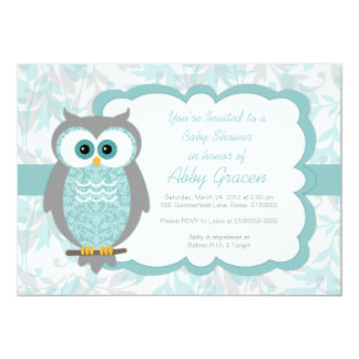 Invitations de baby shower de hibou, Aqua, gris -
