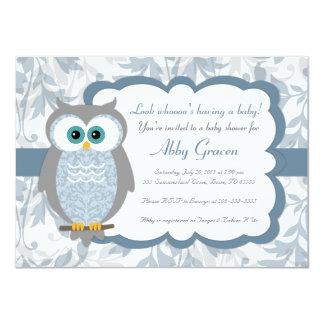 Invitations de baby shower de hibou, bleu, gris -