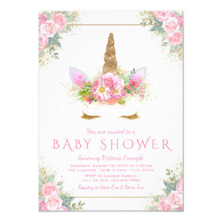 Invitations de baby shower de licorne de visage de