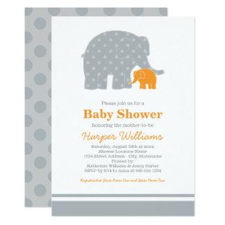 Invitations de baby shower d'éléphant | gris et
