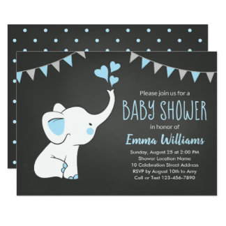 Invitations de baby shower d'éléphant pour un