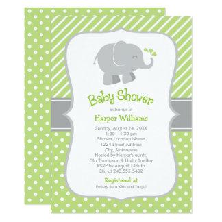 Invitations de baby shower d'éléphant | vert et