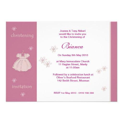 invitations de bapt me de robe de fraise carton d 39 invitation 11 43 cm x 15 87 cm zazzle. Black Bedroom Furniture Sets. Home Design Ideas