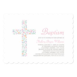 Invitations de baptême pour la croix florale du carton d'invitation  12,7 cm x 17,78 cm
