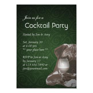 Invitations de cocktail de carlin vert et de vin