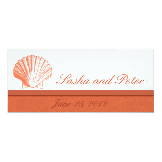 Invitations de corail de mariage de plage de Shell Carton D'invitation 10,16 Cm X 23,49 Cm