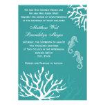Invitations de corail de mariage d'hippocampe de m