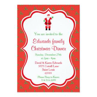 Invitations de dîner de Noël - Père Noël