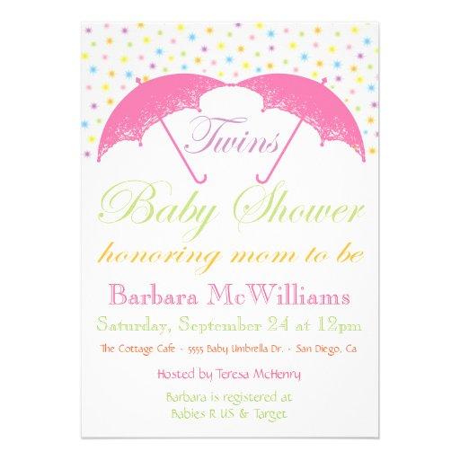 Invitations de douche de jumeaux de bébé de parapl