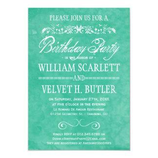 Invitations de fête d'anniversaire d'aquarelle carton d'invitation  12,7 cm x 17,78 cm