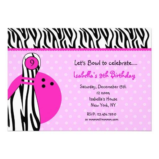 Invitations de fête d'anniversaire de bowling