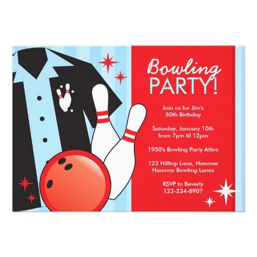 Invitations de fête d'anniversaire de bowling carton d'invitation 12,7 cm x 17,78 cm | Zazzle