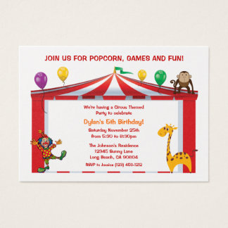 Invitations de fête d'anniversaire de cirque