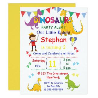 Invitations de fête d'anniversaire de dinosaure et