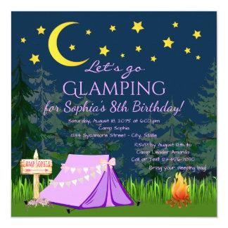 Invitations de fête d'anniversaire de Glamping
