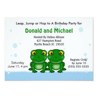 Invitations de fête d'anniversaire de jumeaux carton d'invitation  12,7 cm x 17,78 cm