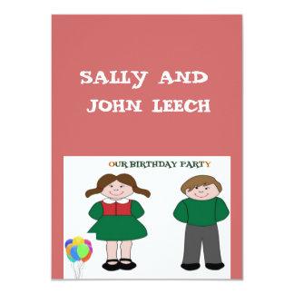 Invitations de fête d'anniversaire de jumeaux carton d'invitation  11,43 cm x 15,87 cm