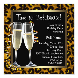 Invitations de fête d'anniversaire de léopard de