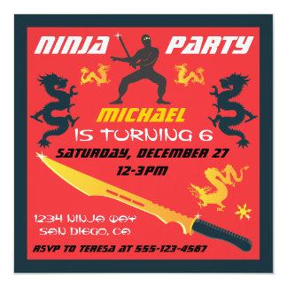 Invitations de fête d'anniversaire de Ninja