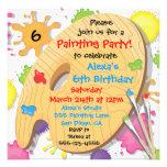 Invitations de fête d'anniversaire de peinture d'a