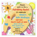 Invitations de fête d'anniversaire de peinture carton d'invitation  13,33 cm