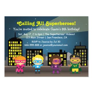 Invitations de fête d'anniversaire de super héros