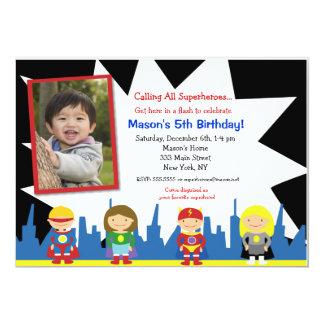 Invitations de fête d'anniversaire de super héros carton d'invitation  12,7 cm x 17,78 cm